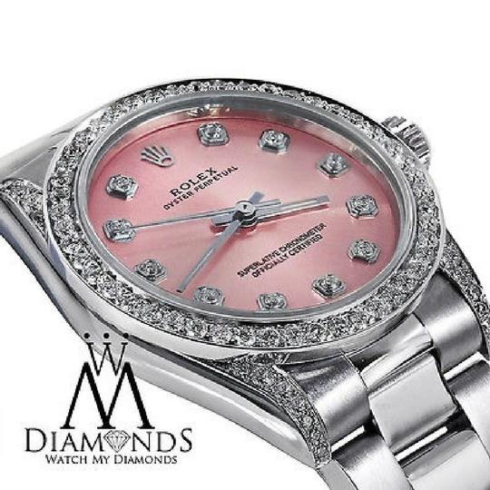 Rolex Diamond Ladies Oyster Perpetual Mid-size 31mm Pink Dial Watch 67480 Image 2