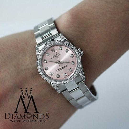 Rolex Diamond Ladies Oyster Perpetual Mid-size 31mm Pink Dial Watch 67480 Image 3