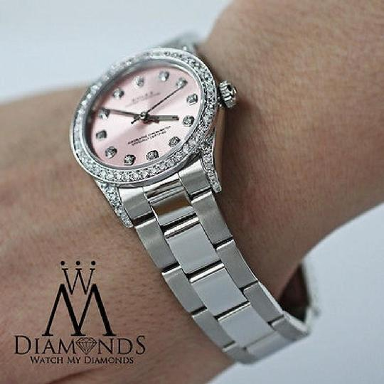 Rolex Diamond Ladies Oyster Perpetual Mid-size 31mm Pink Dial Watch 67480 Image 4