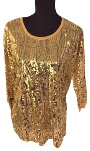 Joan Boyce Sequin Ribbed Trim Top Gold