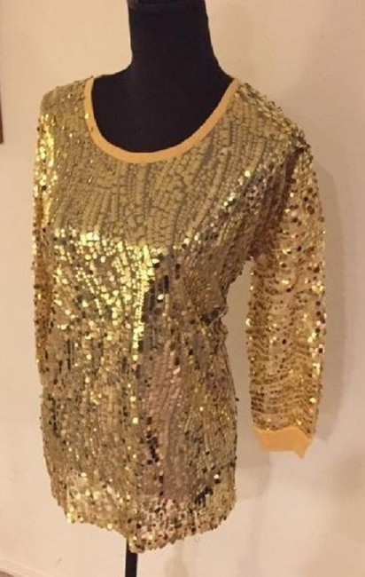 Joan Boyce Sequin Ribbed Trim Top Gold Image 1