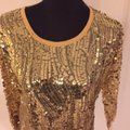 Joan Boyce Sequin Ribbed Trim Top Gold Image 2