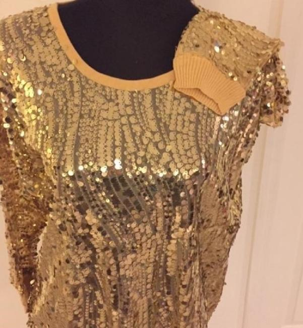Joan Boyce Sequin Ribbed Trim Top Gold Image 3