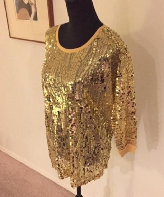 Joan Boyce Sequin Ribbed Trim Top Gold Image 4