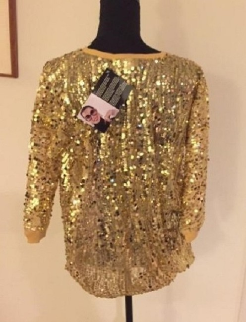 Joan Boyce Sequin Ribbed Trim Top Gold Image 5