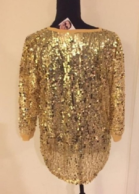 Joan Boyce Sequin Ribbed Trim Top Gold Image 6