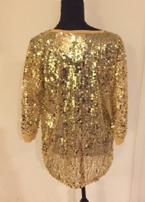 Joan Boyce Sequin Ribbed Trim Top Gold Image 7