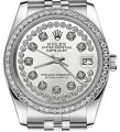 Rolex Womens 26mm Datejust Stainless Steel Silver String Diamond Watch Image 0