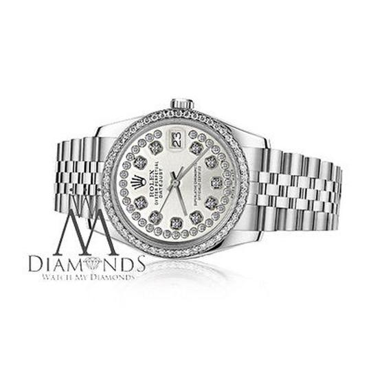 Rolex Womens 26mm Datejust Stainless Steel Silver String Diamond Watch Image 1
