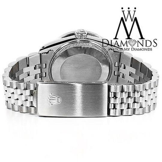 Rolex Womens 26mm Datejust Stainless Steel Silver String Diamond Watch Image 3