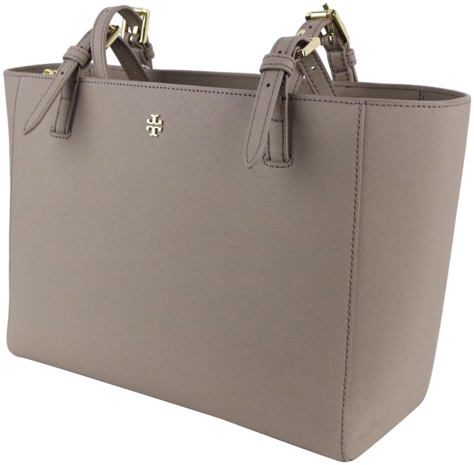 f8e0ee631466 Tory Burch Emerson Small Buckle French Gray Saffiano Leather Tote ...