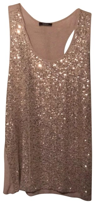 Premise Studio Silver Sequined Tank Top/Cami Size 12 (L) Premise Studio Silver Sequined Tank Top/Cami Size 12 (L) Image 1