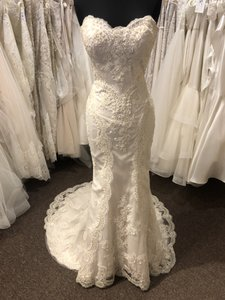 Casablanca Champagne with Ivory Overlay 2201 Formal Wedding Dress Size 8 (M)
