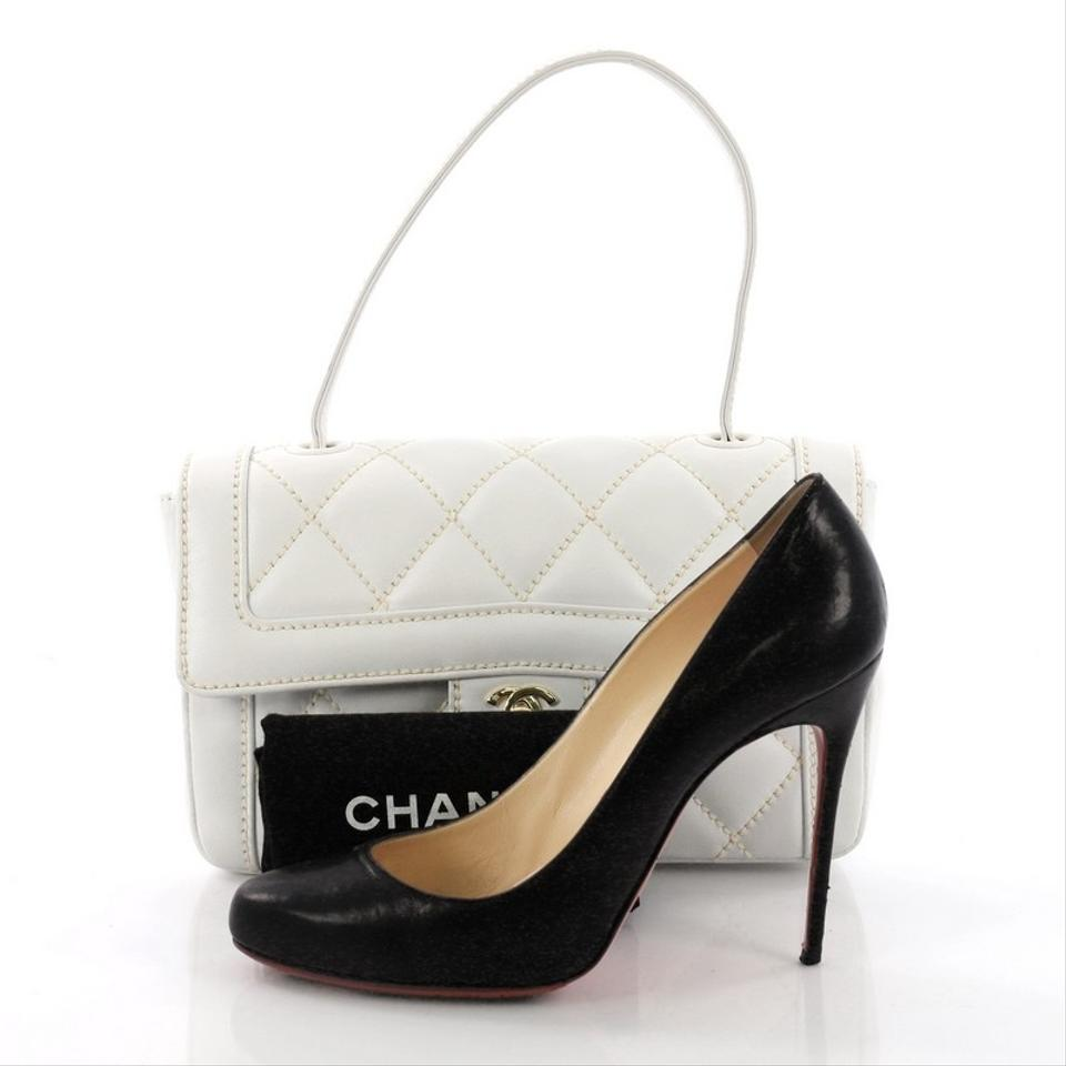 7d8a46a9a3c4fd Chanel Classic Flap Surpique Top Handle Quilted Small White Leather ...