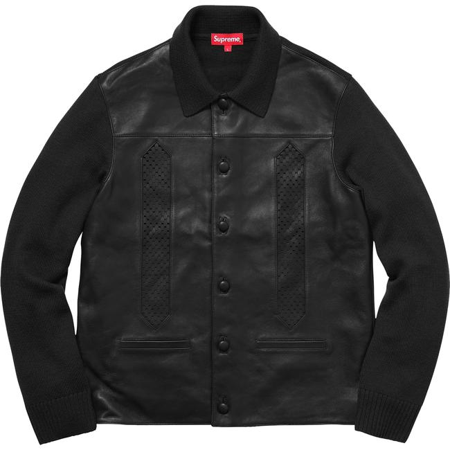 Item - Mens Leather Front Black Sweater