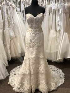 Casablanca Champagne with Ivory Overlay 2244 Formal Wedding Dress Size 8 (M)