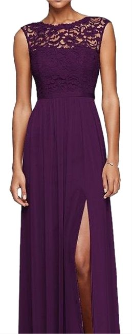 Item - Plum F19328 Bridesmaid with Lace Bodice Long Formal Dress Size 14 (L)