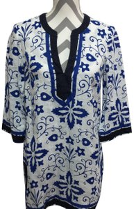 Boden short dress Blue & White Kaftan Tunic Linen on Tradesy