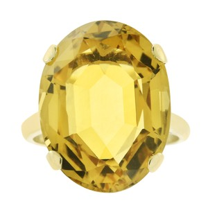 Avital & Co Jewelry 11.00 Carat Citrine Solitaire Vintage Hand Made Ring 12K Yellow Gold