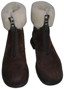 La Canadienne Warm Ankle Interior Suede Chocolate brown and cream shearling trim Boots