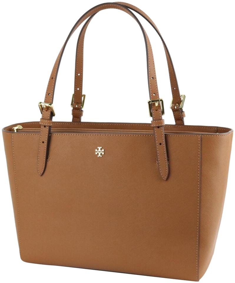 4d4f654e70ae Tory Burch Emerson Small Buckle Tiger s Eye Saffiano Leather Tote ...