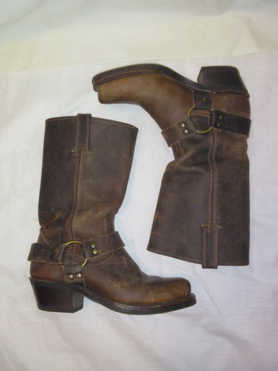 Frye Made In Usa Ankle Strap O-ring Studs Motorcycle Tan Boots Image 1
