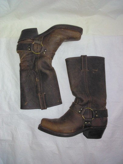 Frye Made In Usa Ankle Strap O-ring Studs Motorcycle Tan Boots Image 2