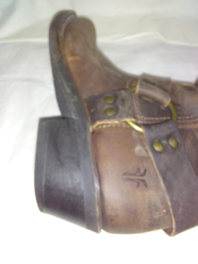 Frye Made In Usa Ankle Strap O-ring Studs Motorcycle Tan Boots Image 3