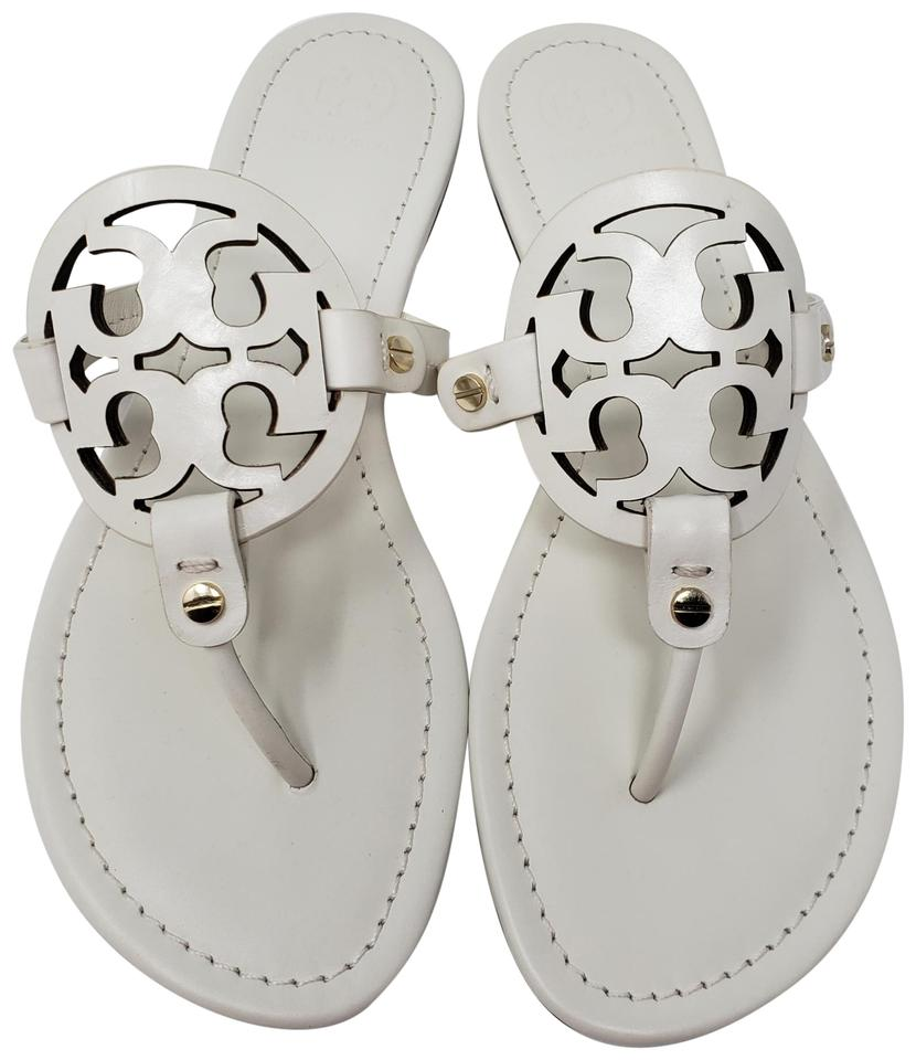 2fc05981b3ae Tory Burch White Leather Miller Thong Slide Sandals Size US 9.5 ...