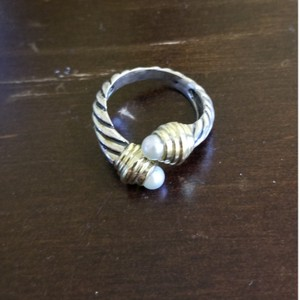David Yurman Vintage 14k Y Gold Silver Pearl David Yurman ring Bypass