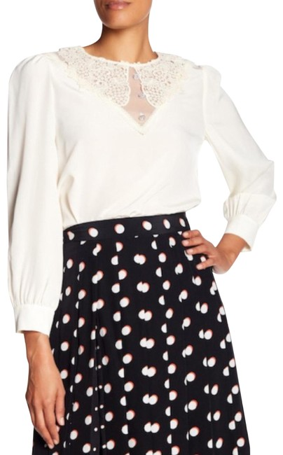 Marc Jacobs Ivory Lace Inset Silk Blouse Size 0 (XS) Marc Jacobs Ivory Lace Inset Silk Blouse Size 0 (XS) Image 1