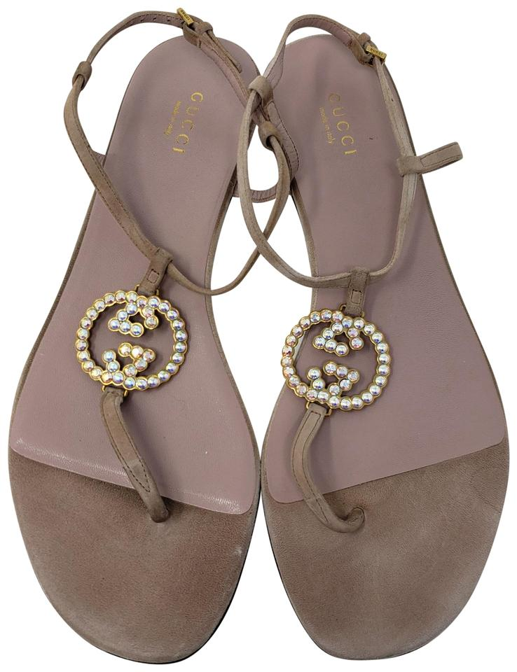 633fb96dd Gucci Beige Leather Crystal Gg Logo Ankle Strap Sandals. Size  EU 38.5 ...