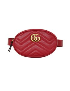 7152894a95b8 Gucci Marmont Quilted Chevron Gg Matelasse Belt 105/42 Red Leather  Weekend/Travel Bag