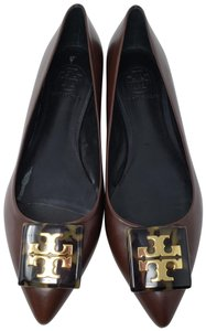 Tory Burch Reva Gold Hardware Pointed Toe Logo Miller Brown Flats