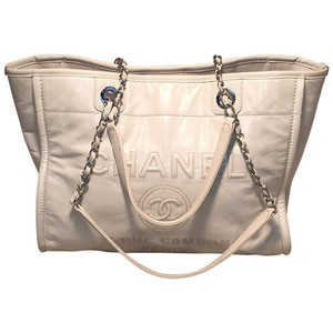 Chanel Deauville Shopper Shopping Tote in white