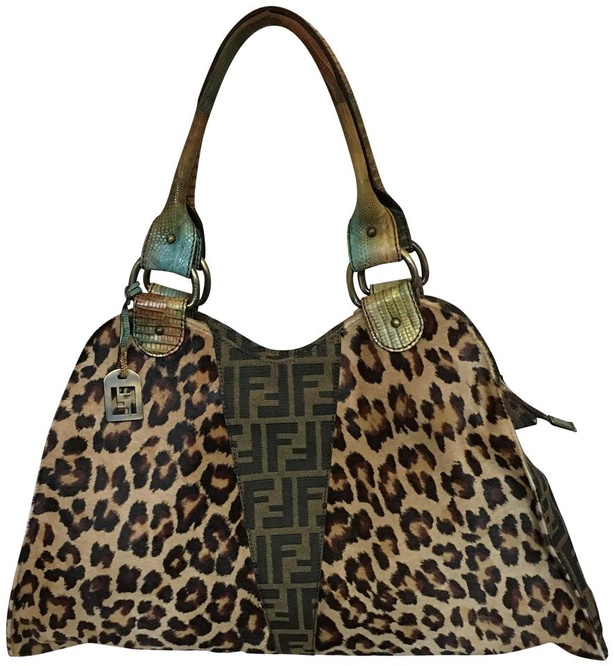 afb65fbd7174 Fendi W 1151118 Animal Print W/ Ff Logo & Snake Sk Brown Calf Hair Hobo Bag