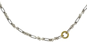 David Yurman David Yurman Long Two Tone Interlocking Chain Necklace