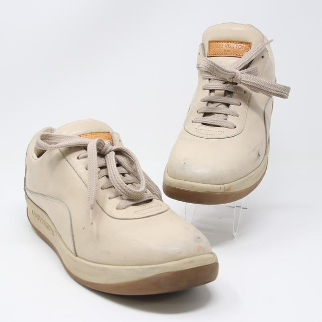 Item - Beige Classic Lv Men's Calfskin Leather Lace Up Leisure Size 39.5 Shoes