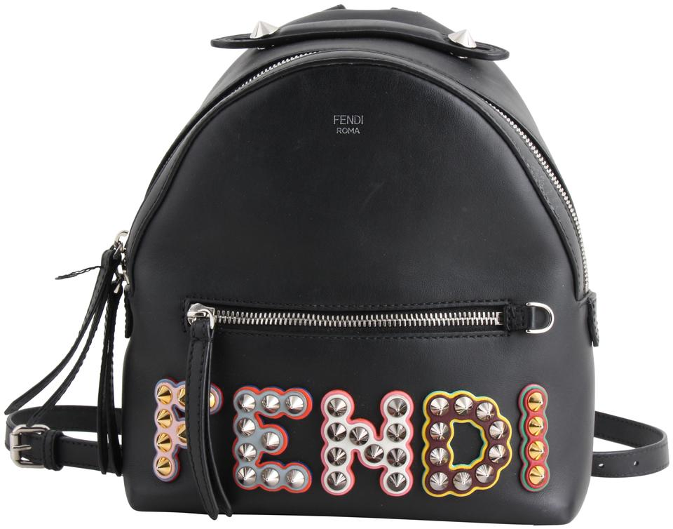 Fendi Studded Logo Mini Black Calfskin Leather Backpack - Tradesy e2e4ded6daaac