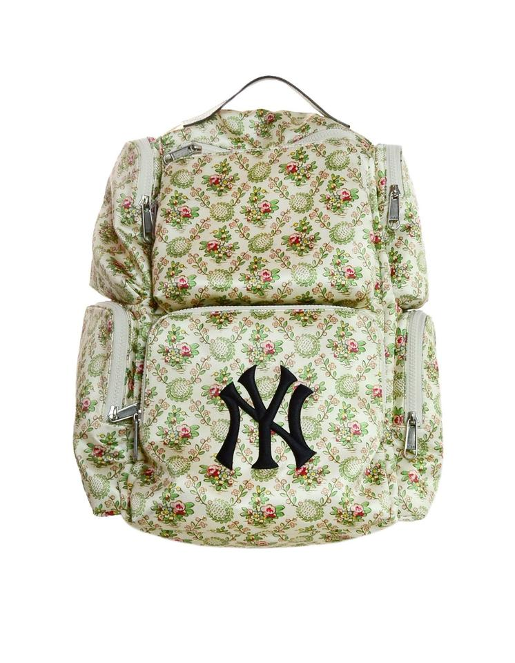 f7105a05111b Gucci 2018 Floral Large W/ Ny Yankees Patch Ivory Satin Backpack ...