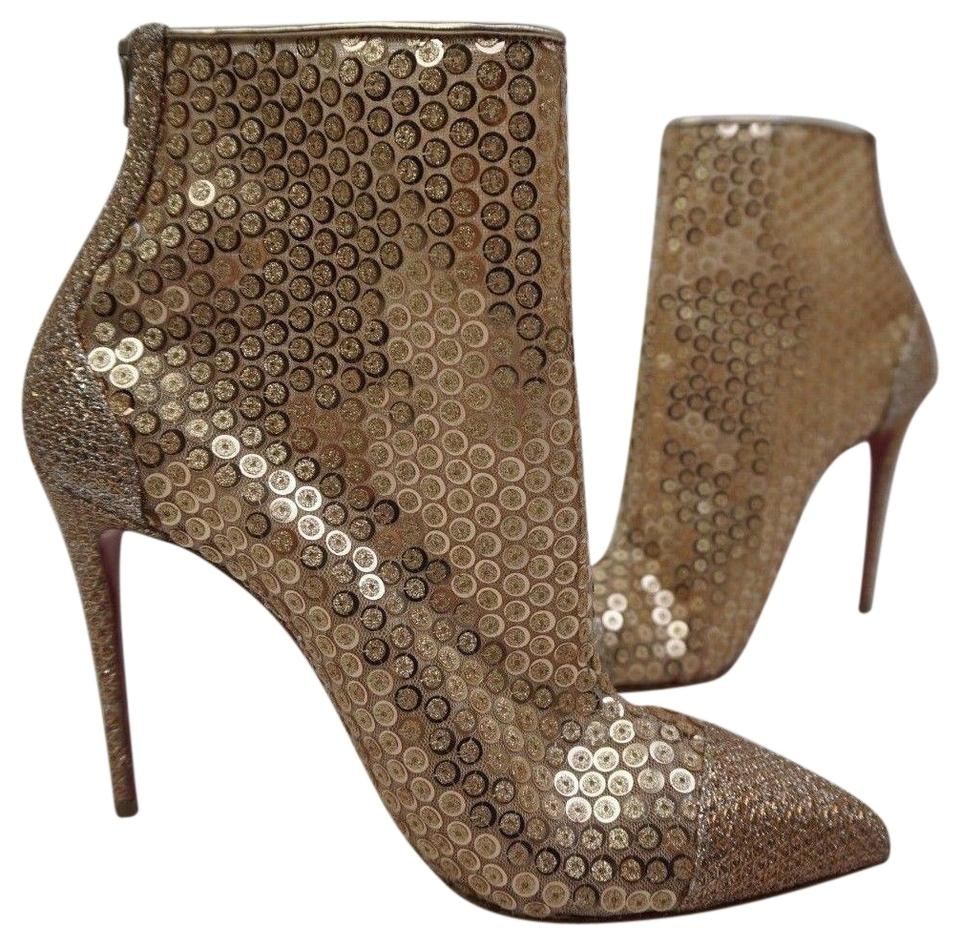5069b962971 Christian Louboutin Gold Gipsy Sequin Shimmering Pointy Toe Boots Booties