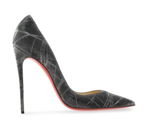 Christian Louboutin Metallic So Kate Pigalle Pointed Toe Textured Grey Pumps