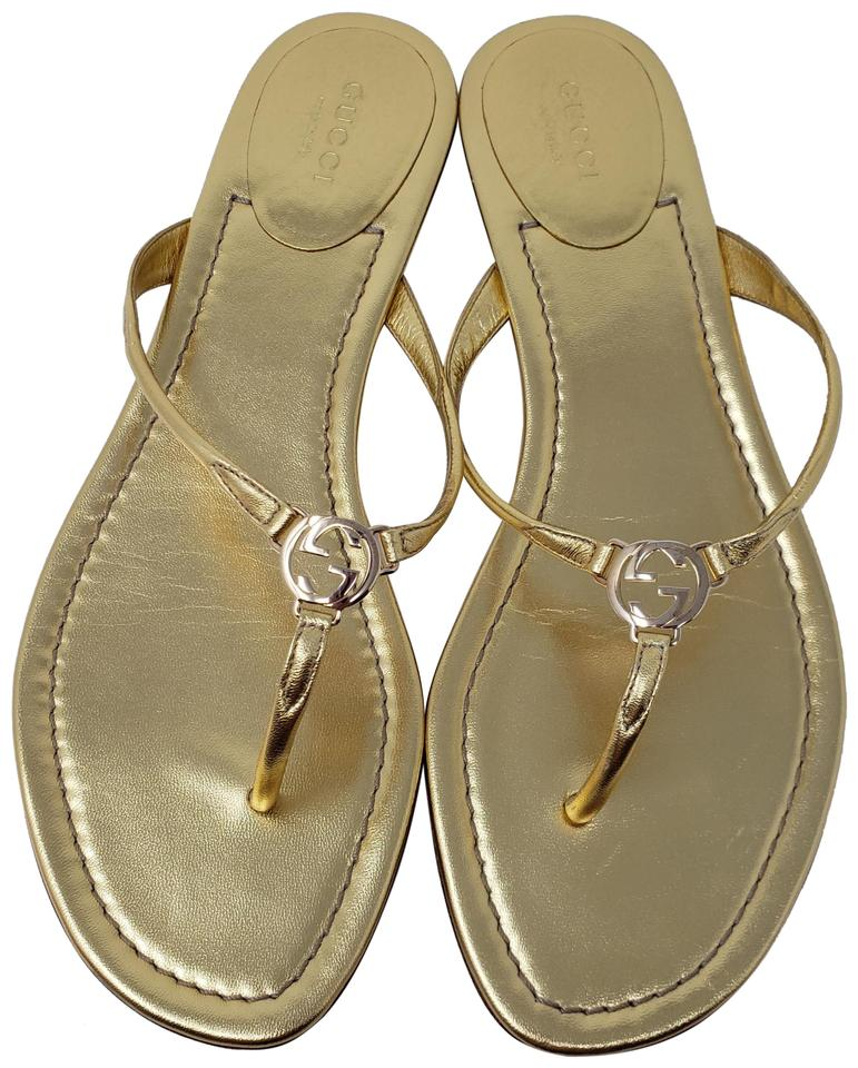 425e8dc97 Gucci Gold Metallic Leather Gg Logo Slide Sandals Size EU 38 (Approx ...