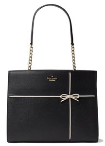 Kate Spade Cherry Street Phoebe Black/Cement Pebbled Leather Shoulder Satchel in Black