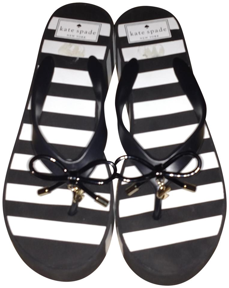 02dd08ba1c58 Kate Spade Black and White Stripes Platform Sandals Size US 8 ...