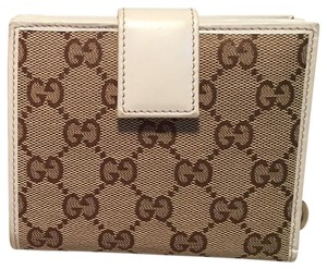 Gucci Gucci GG Monogram and Beige Leather Wallet with Zip Pocket and Box