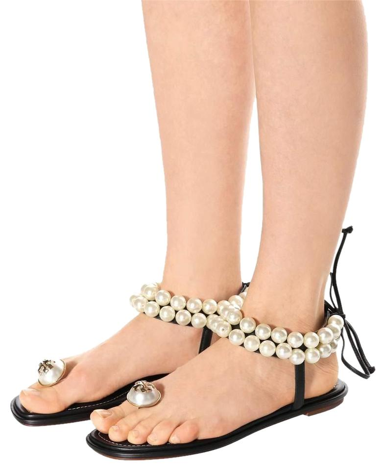 c4d560144b7021 Tory Burch Black Leather Melody Pearl Embellished Sandals Size US ...