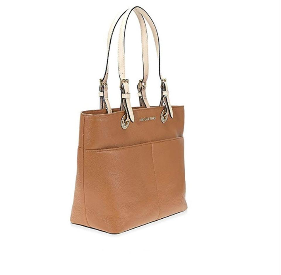 52d559e8c76b ... promo code for michael kors bedford top zip pocket brown leather tote  bd191 896c8