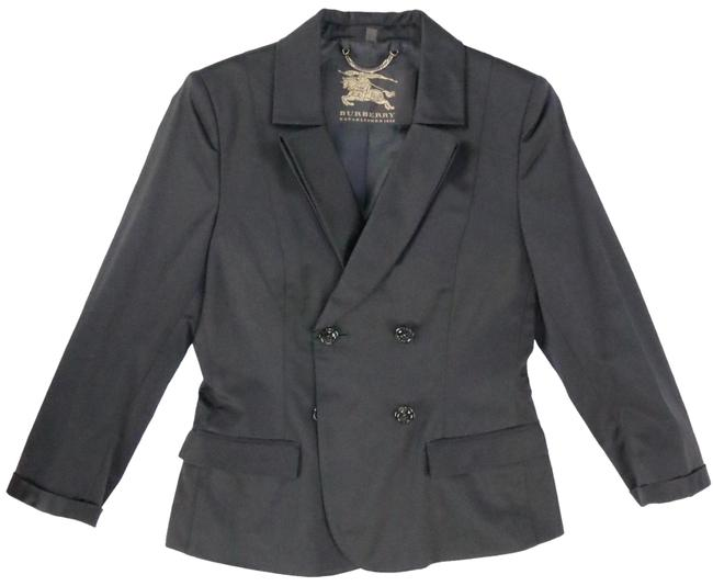 Burberry Prorsum Black Dark Blk Lined Double-breasted Luxurious Soft Cotton Jacket Blazer Size 6 (S) Burberry Prorsum Black Dark Blk Lined Double-breasted Luxurious Soft Cotton Jacket Blazer Size 6 (S) Image 1