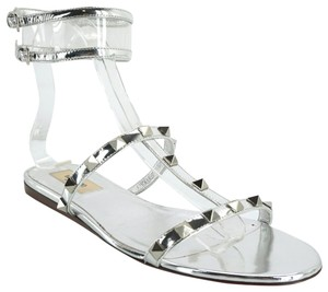 Valentino Pvc Studded Party Beach Silver Sandals